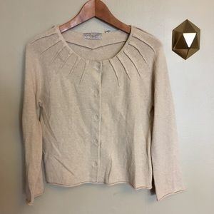 Charlie Robin Anthropologie Pleated Cardigan Tan M